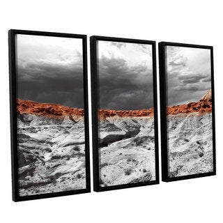 Vlad Bubnov's 'Devil's 'Amphitheater' 3-piece Floater Framed Canvas Set - Grey/Brown/White