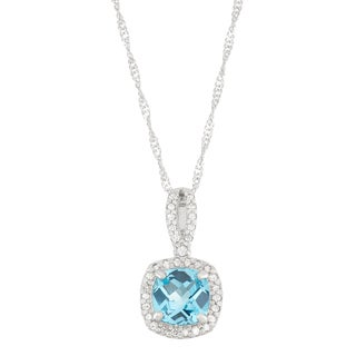 Gioelli 10k White Gold 1/5ct TDW Diamond and Genuine Cushion-cut Swiss Blue Topaz Pendant (I-J, I1-I2)