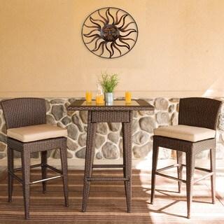 Somette 3 Piece Outdoor Woven Wicker Bar Set