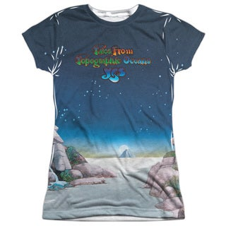 Yes/Topographic Oceans Short Sleeve Junior 100-percent Poly Crew in White