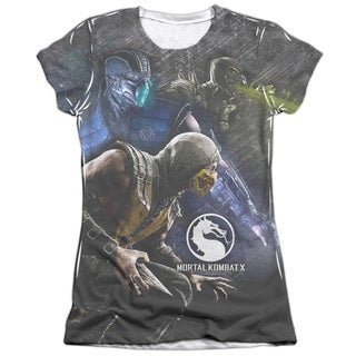 Mortal Kombat X/Three Of A Kind (Front/Back Print) Short Sleeve Junior 65/35 Poly/Cotton Crew in White