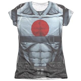 Bloodshot/Shirtless Straps Short Sleeve Junior 65/35 Poly/Cotton Crew in White