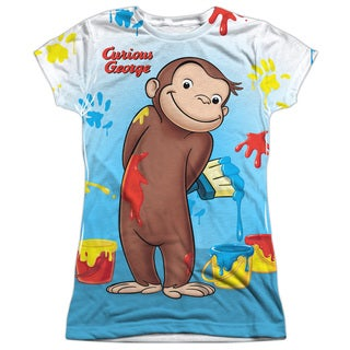Curious George/Paint All Over Short Sleeve Junior Poly Crew in White
