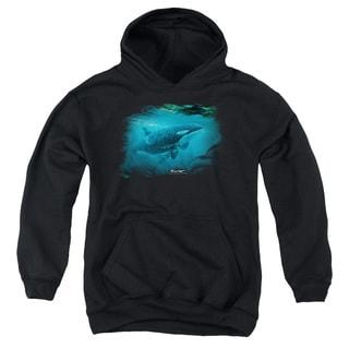 Wildlife/Pursuit Thru The Kelp Orca Youth Pull-Over Hoodie in Black