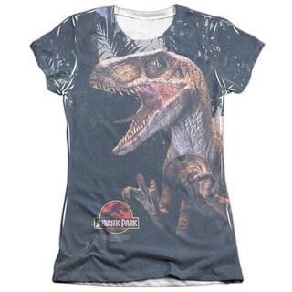 Jurassic Park/Raptors Short Sleeve Junior Poly/Cotton Crew in White
