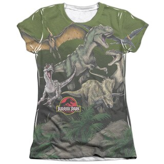 Jurassic Park/Pack Of Dinos Short Sleeve Junior Poly/Cotton Crew in White