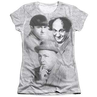 Three Stooges/Signature Short Sleeve Junior Poly/Cotton Crew in White