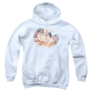 Wildlife/Lunch Break Lab Pups Youth Pull-Over Hoodie in White