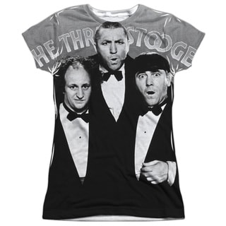 Three Stooges/Classy Fellas Short Sleeve Junior Poly Crew in White