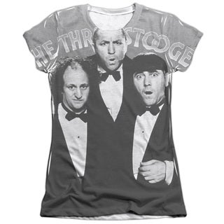 Three Stooges/Classy Fellas Short Sleeve Junior Poly/Cotton Crew in White
