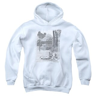Woodstock/Hippies in A Field Youth Pull-Over Hoodie in White