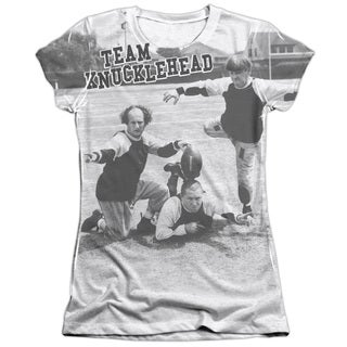 Three Stooges/Team Knucklehead (Front/Back Print) Short Sleeve Junior Poly/Cotton Crew in White