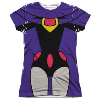Teen Titans Go/Raven Uniform Short Sleeve Junior Poly Crew in White