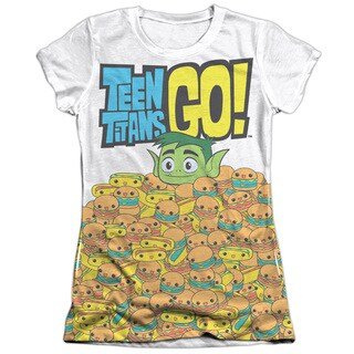 Teen Titans Go/Burgers & Dogs Short Sleeve Junior Poly/Cotton Crew in White