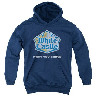 White Castle/Distressed Logo Youth Pull-Over Hoodie in Navy