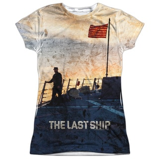 Last Ship/Searching Short Sleeve Junior Poly Crew in White