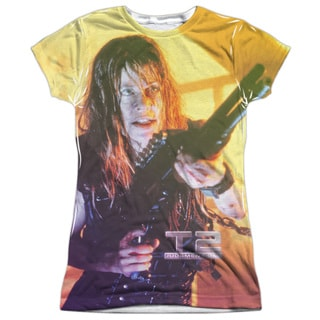 Terminator Ii/Sarah Connor Sub (Front/Back Print) Short Sleeve Junior Poly Crew in White