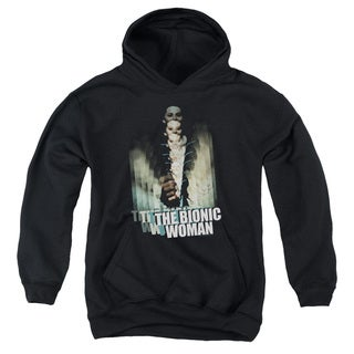Bionic Woman/Motion Blur Youth Pull-Over Hoodie in Black