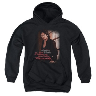 Vampire Diaries/Threes A Party Youth Pull-Over Hoodie in Black