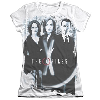 X Files/Three Agents Short Sleeve Junior Poly/Cotton Crew in White