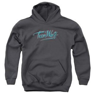 Teen Wolf/Neon Logo Youth Pull-Over Hoodie in Charcoal