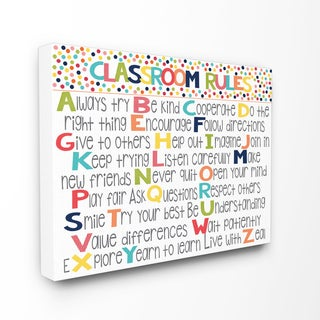 Classroom Rules' Colorful Alphabet Stretched Canvas Wall Art