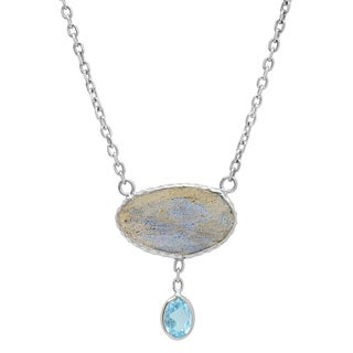 Rhodium Plated Sterling Silver Labradorite and Blue Topaz Drop Necklace (18 inches)