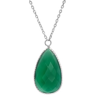 Rhodium Plated Sterling Silver Faceted Pear Green Onyx Teardrop Necklace ( 18 inches )