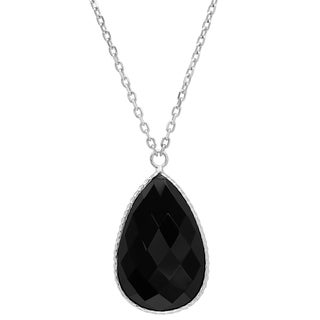 Rhodium Plated Sterling Silver Faceted Pear Black Onyx Teardrop Necklace ( 18 inches )