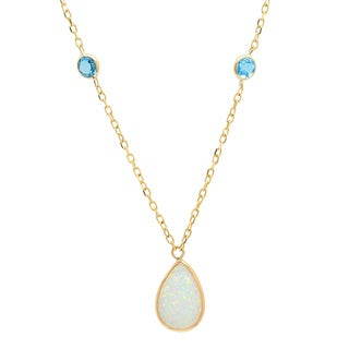 Sterling Essentials 14k Gold Pear Created Opal and Blue Topaz Adjustable Necklace (16 inch plus 2 inch extension)