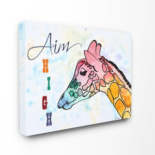 Aim High' 16-inch x 20-inch Watercolor Giraffe Stretched Canvas Wall Art