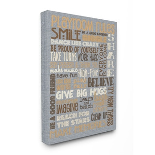 Playroom Rules' Denim Feel Typographic Stretched Canvas Wall Art