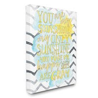 Canvas 'You are My Sunshine' Watercolors Chevron Canvas Wall Art