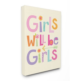 Girls Will Be Girls' Multi-color With Arrow Stretched Canvas Wall Art