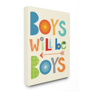 Boys Will Be Boys' Multi-color with Arrow Stretched Canvas Wall Art