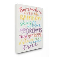 Somewhere Over the Rainbow' Watercolor Stretched Canvas Wall Art