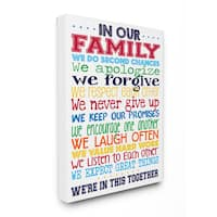 In Our Family' Rainbow Colored Stretched Canvas Wall Art