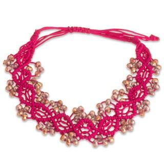 Adjustable Hand Woven Pink String and Crystal Bracelet