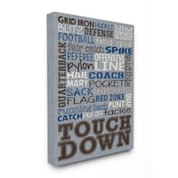 Football Terms' Blue Denim Wooden Stretched Canvas Wall Art