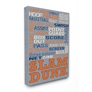 Basketball Typog Denim-feel Stretched Canvas Wall Art