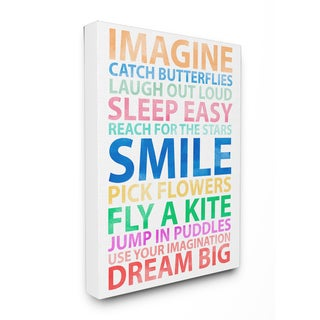 Imagine, Smile, Dream Big' Stretched Canvas Wall Art