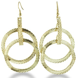 Adoriana Gold Tone Multi-Hoop Dangle Drop Earrings with Spring Accents, 2.5 Inches long