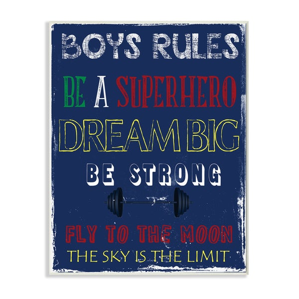 Boys Rules the Sky Is the Limit' Stretched Canvas Wall Art