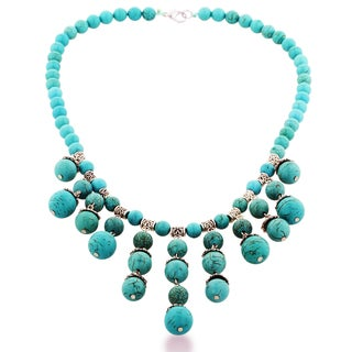 Adoriana Regal Chandelier Style Turquoise and Silver Tone Beaded Necklace