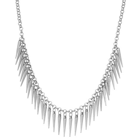 Adoriana Dangling Silver Spike Bib Necklace, 18 Inches