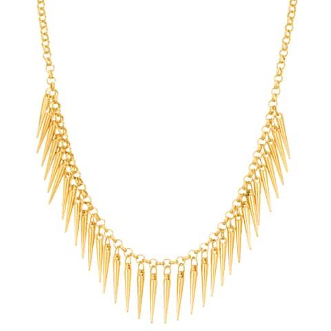 Adoriana Dangling Gold Spike Bib Necklace, 18 Inches - Orange