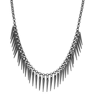 Adoriana Dangling Gunmetal Spike Bib Necklace, 18 Inches