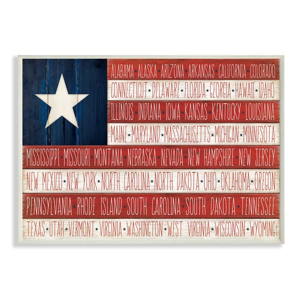 American Flag With States Wall Plaque Art Free Shipping