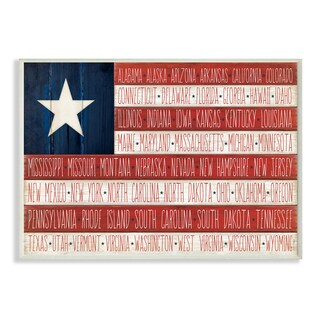 American Flag With States' Wall Plaque Art