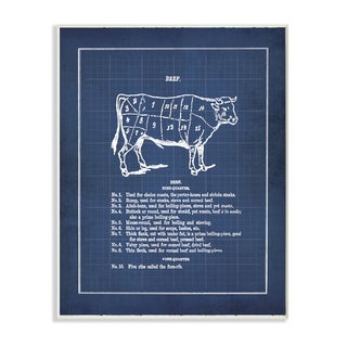 Vintage 'Cattle Blueprint' Unframed Wall Plaque Art